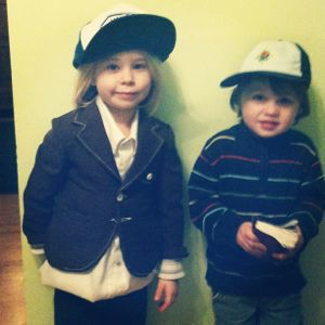 little boy and girl wearing trucker hats