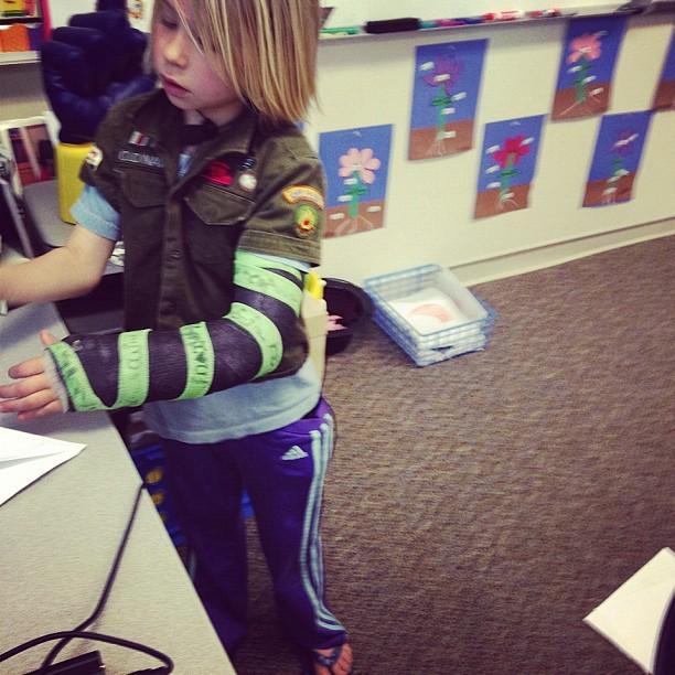 little girl teaching class