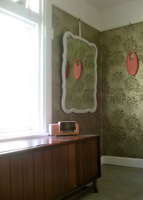 curved antique mirror after white