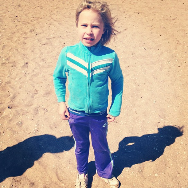 little girl on windy beach instagram