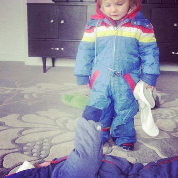 baby crying in snowsuit instagram