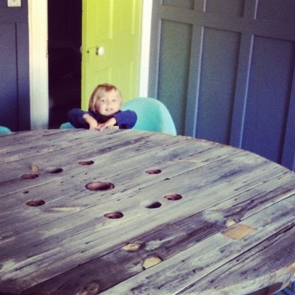 little boy rustic wooden table spool instagram