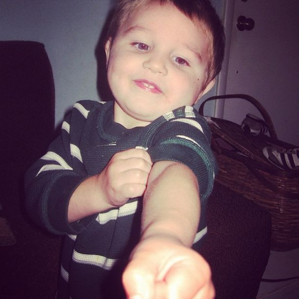 little boy punching flexing muscles instagram