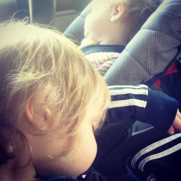little boy and baby girl sleeping in car instagram