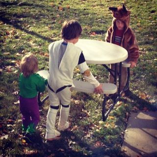 kids moving table in halloween costume instagram