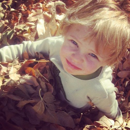 little boy sitting in leaves instagram