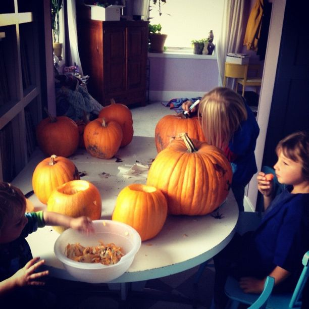 kids carving pumpkins instagram