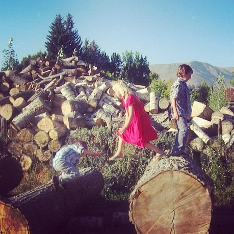 kids jumping on logs instagram