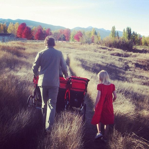 man stroller autumn girl in red dress instagram