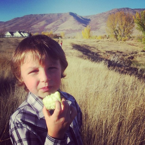 little boy eating apple autumn instagram