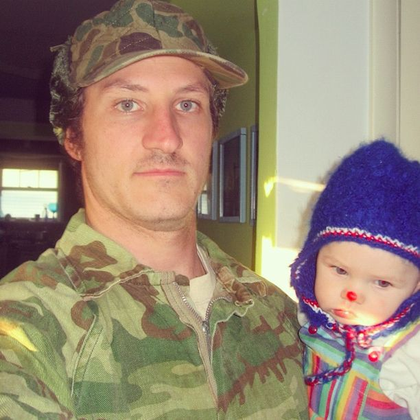 man dressed as GI Joe baby dressed as clown instagram