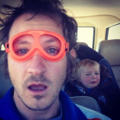 dad wearing kid goggles little boy crying instagram