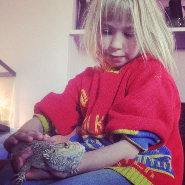 little girl holding lizard instagram