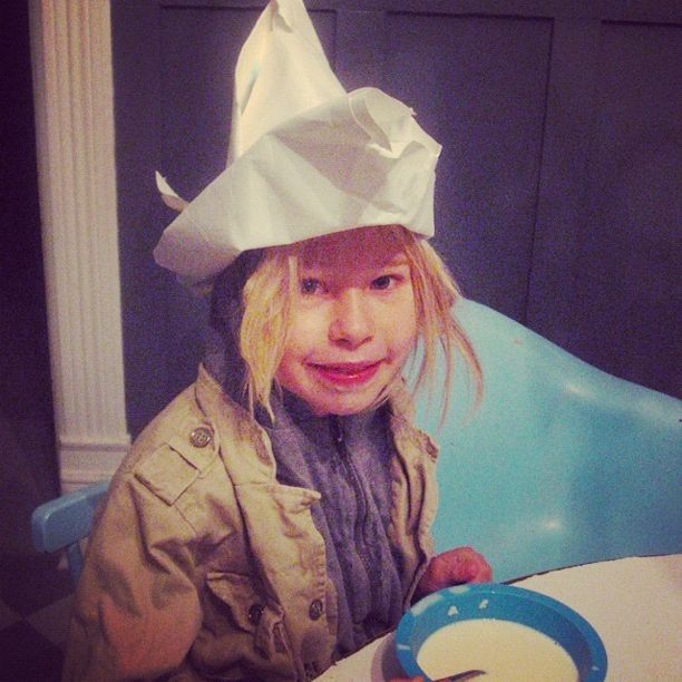 little girl paper hat breakfast instagram