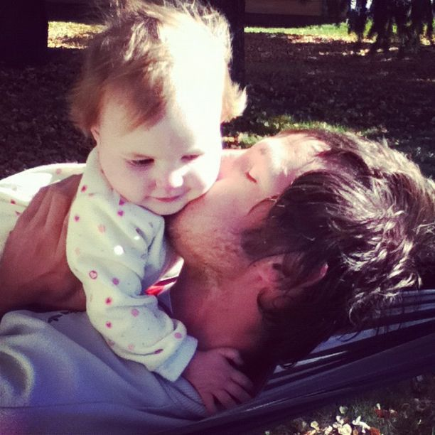 dad kissing baby girl hammock instagram