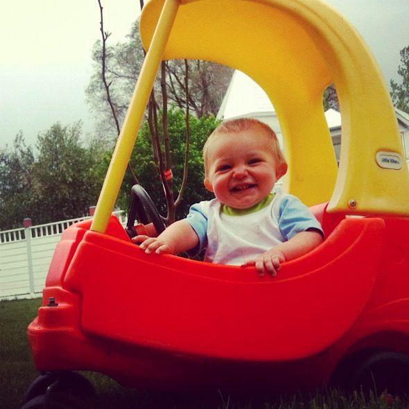 little boy in play car instagram