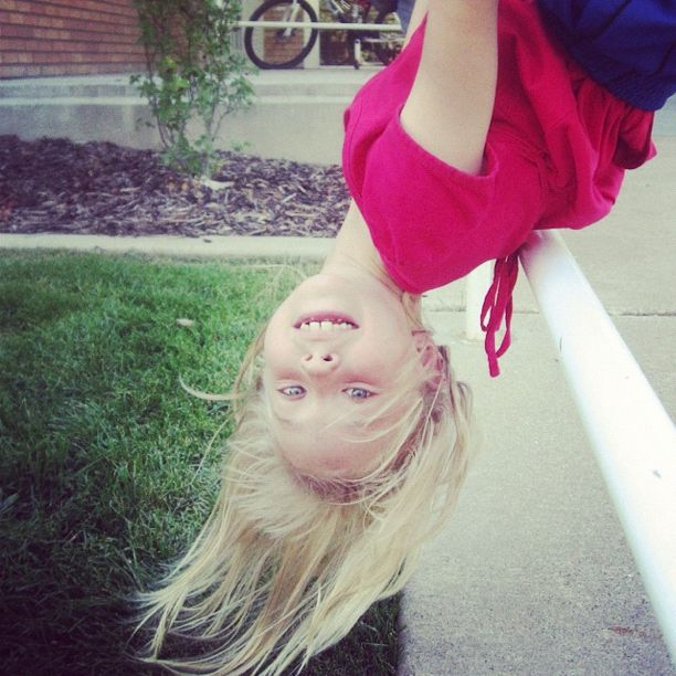 little girl hanging upside down instagram