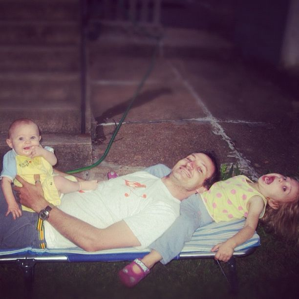 dad and kids on cot instagram