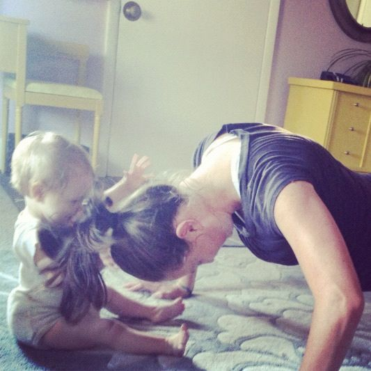 baby girl playing with moms hair pushups instagram