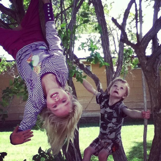little boy and upside down girl in tree instagram