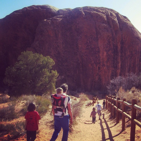 family hiking arches national park moab instagram