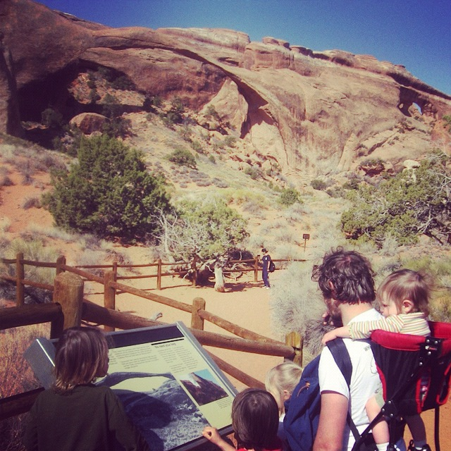 family hiking arches national park landscape arch moab instagram