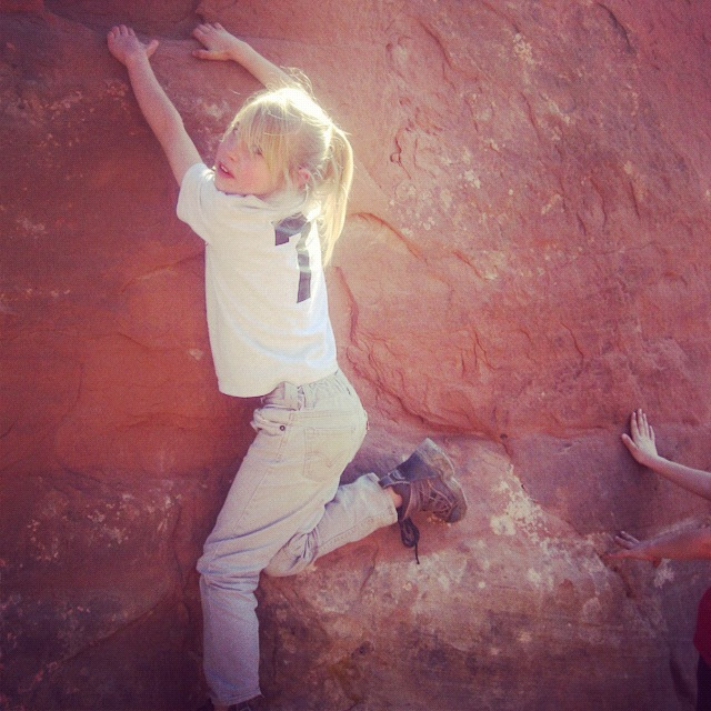 little girl hiking arches national park moab instagram
