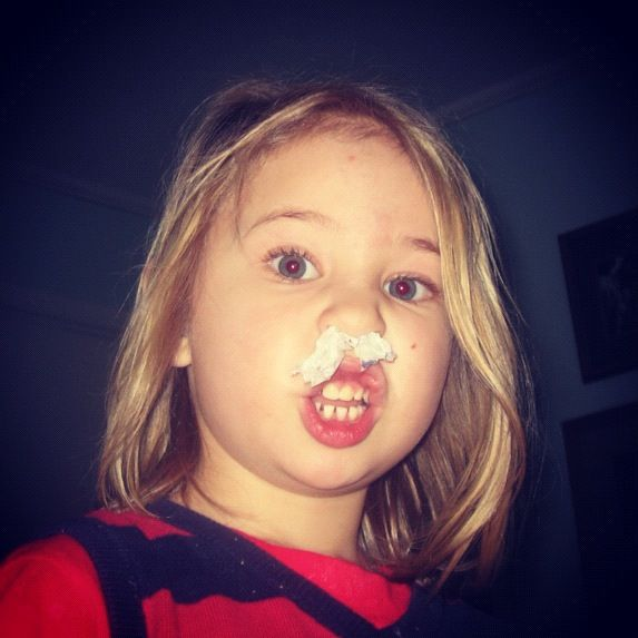 little girl tissue in nose instagram
