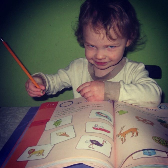little boy pencil upside down workbook instagram