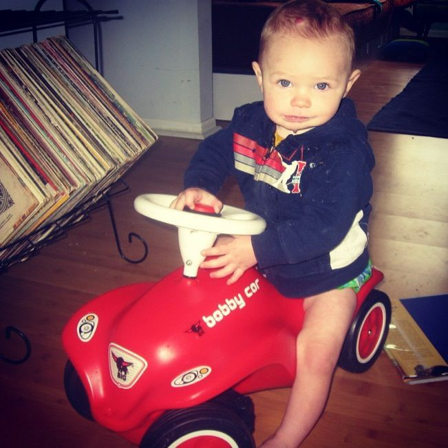 little boy red car instagram