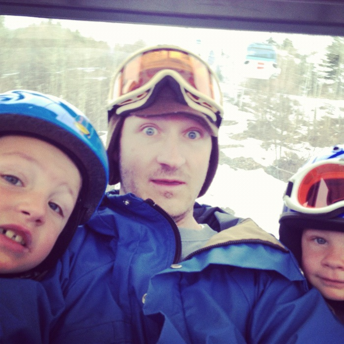 man boys father sons brothers ski lift instagram