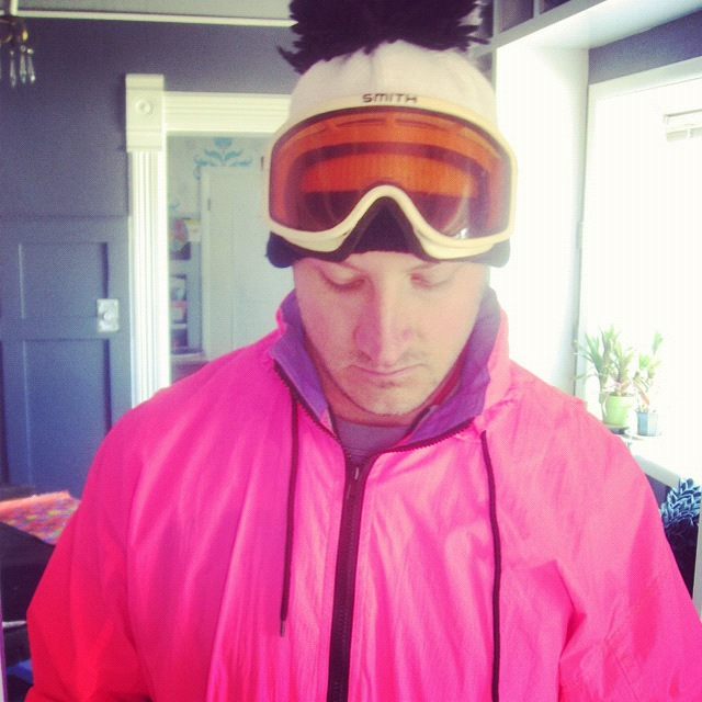 man snowboarding fluorescent pink 80s instagram