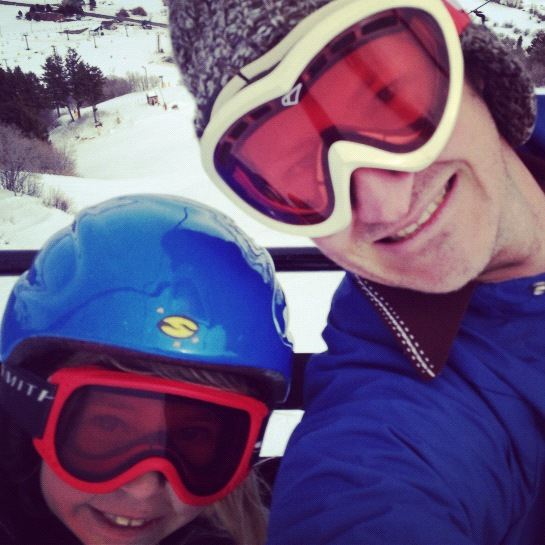 little girl and dad ski lift instagram