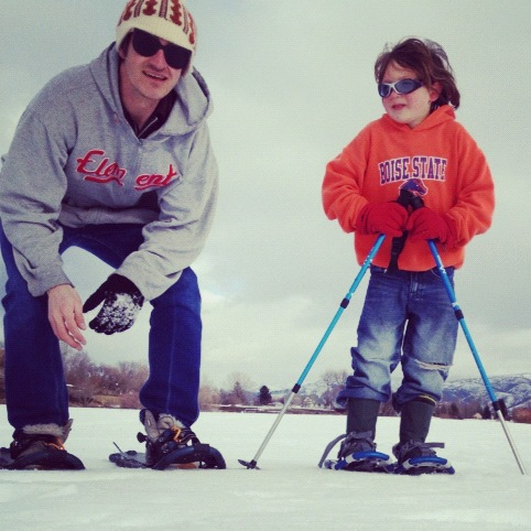 little boy and dad snowshoeing instagram