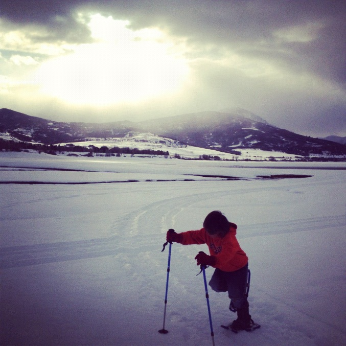 little boy snowshoeing instagram
