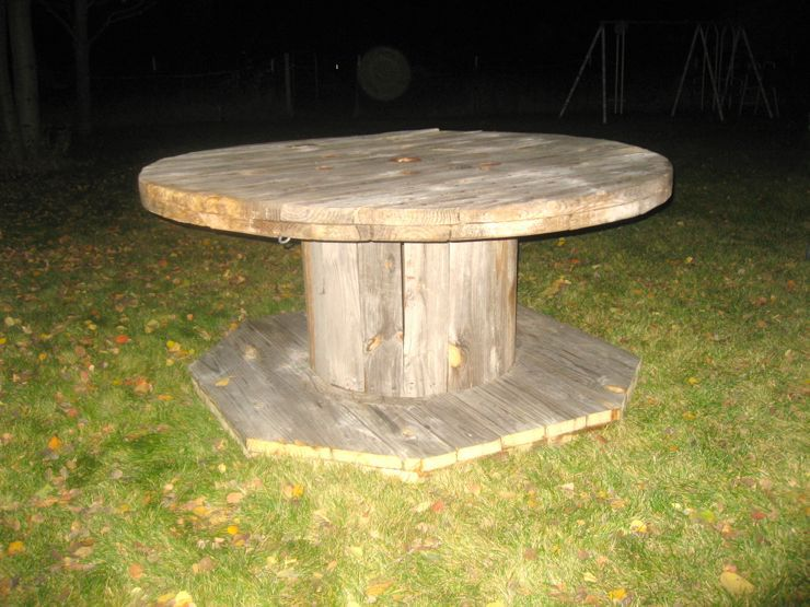 wooden spool dining table