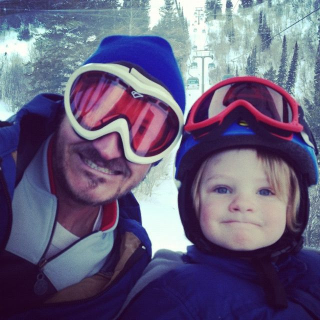 little boy and dad on ski lift instagram