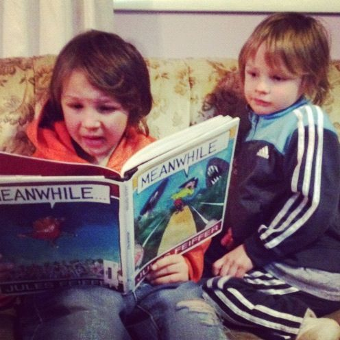 boy reading story to little brother instagram