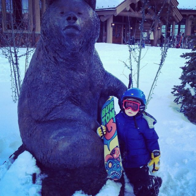 little boy snow board bear sculpture instagram
