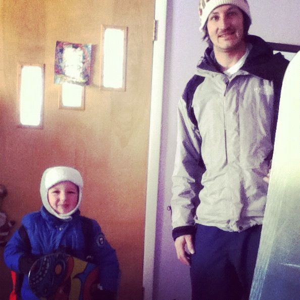 little boy dad snowboarding instagram