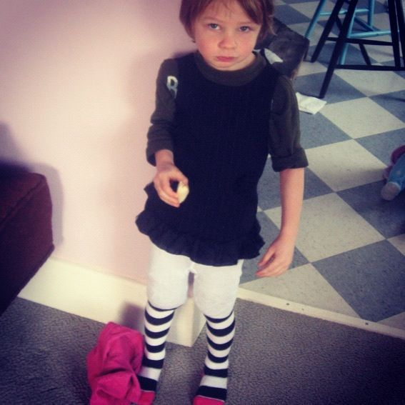 little boy wearing too small dress and tights instagram