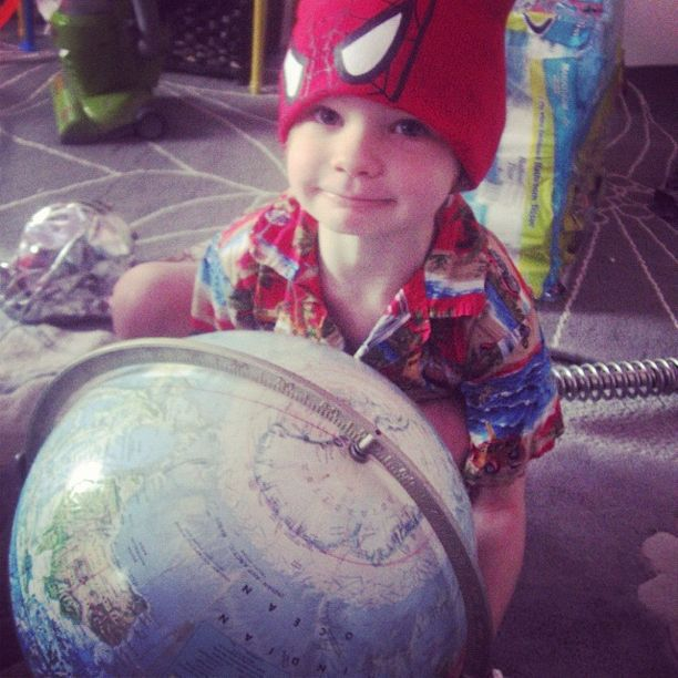 little boy spiderman hat globe hawaiian shirt instagram