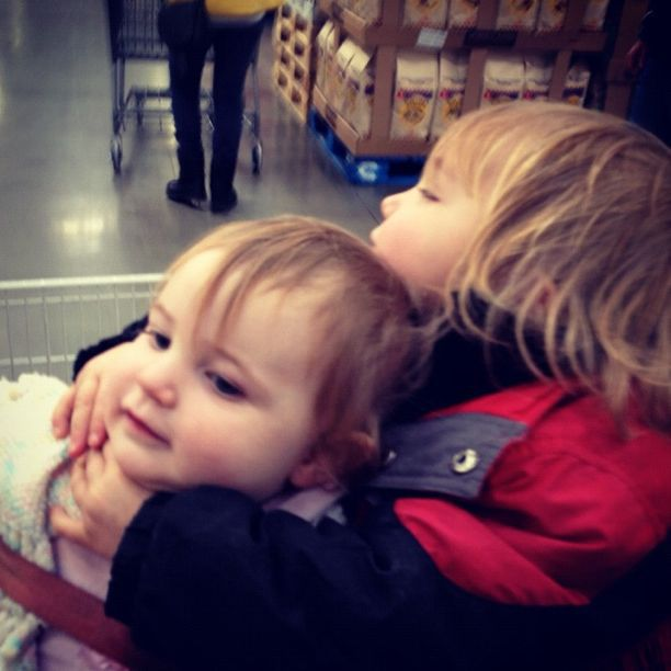 little boy hugging baby girl brother sister grocery cart instagram