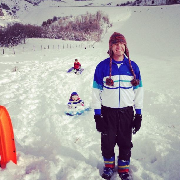 dad and sons sledding instagram