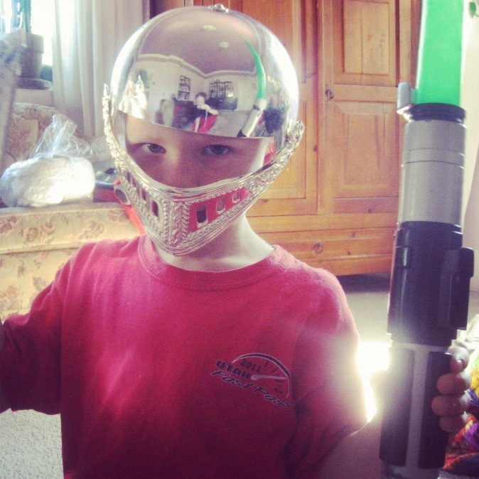 little boy shield light saber helmet instagram