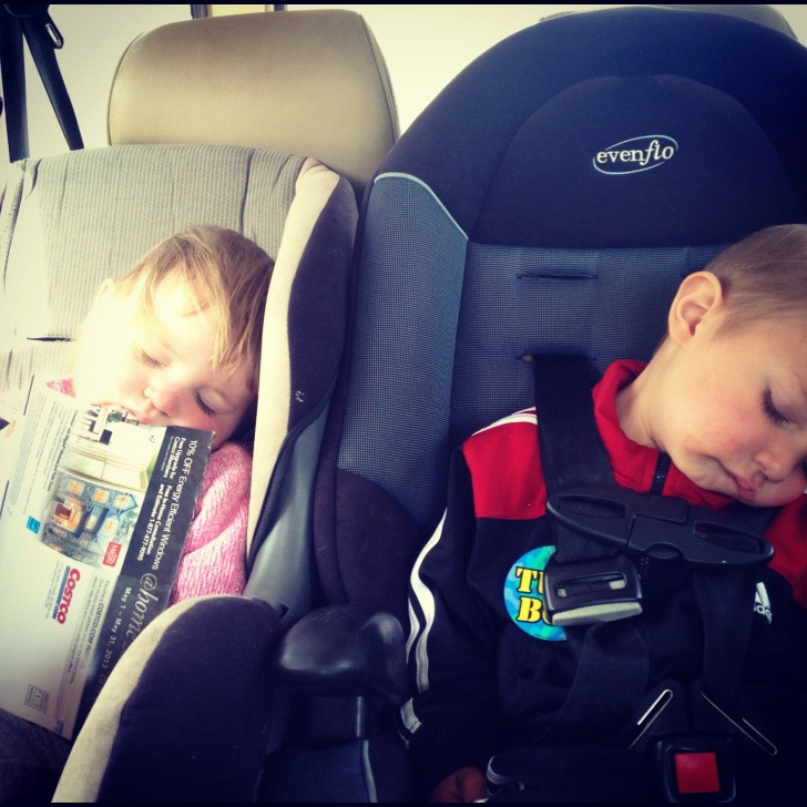 kids sleeping in car seats instagram