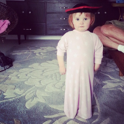 little girl backwards pajamas pirate hat instagram