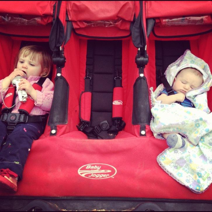 babys in triple stroller instagram