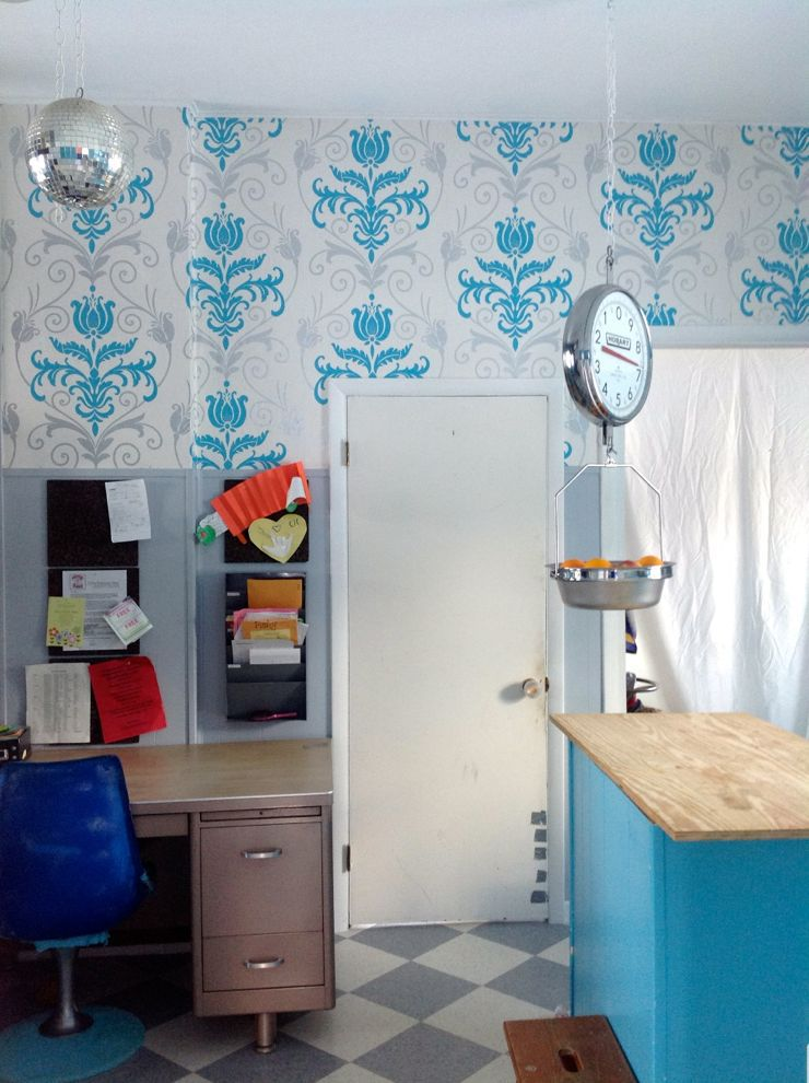 turquoise kitchen wallpaper after progress concrete cement countertops