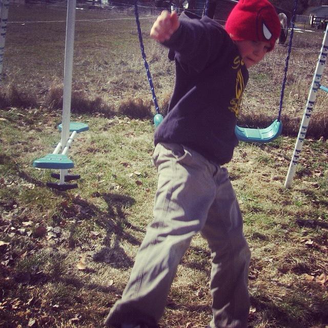 little boy jumping off swing instagram